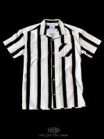 【FLASHBACK19SS最新作】OVERSIZE Stripe short sleeve shirt BLK