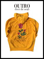 OUTRO-feer de seal- Back Rose Logo Hoodie GOLD