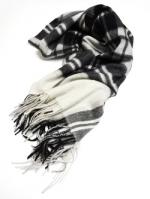 Wool Check Stole-BLACK-