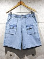 Knit Denim Shorts-BLEACH-