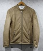 Suede Boa Single Rider's Jacket-BEIGE-
